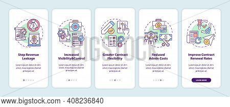 Contract Management Automation Benefits Onboarding Mobile App Page Screen With Concepts. Stop Revenu