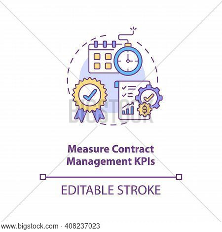 Measure Contract Management Kpis Concept Icon. Efficient Contract Management Tips. Information Aroun