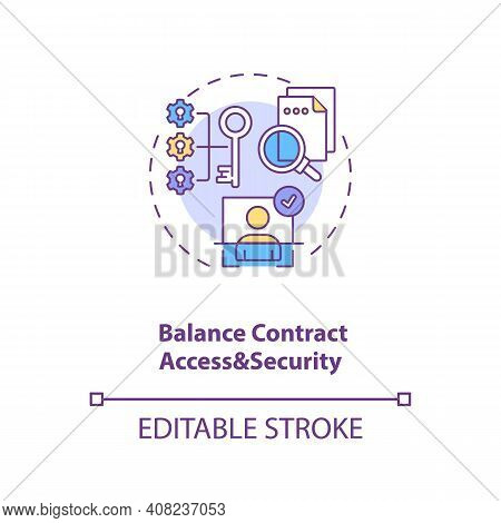 Balance Contract Access And Security Concept Icon. Efficient Contract Management Tips. Contract Deta