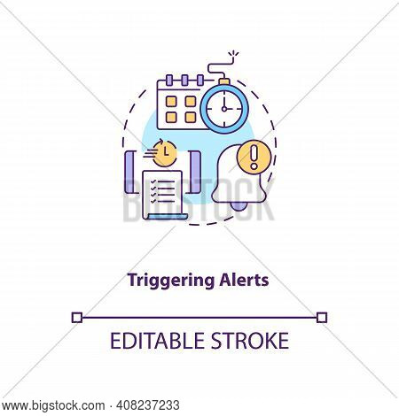 Triggering Alerts Concept Icon. Contract Management Software Functions. Contract Management Processe