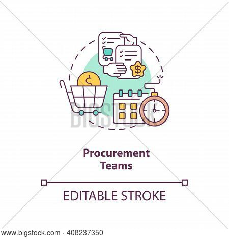 Procurement Teams Concept Icon. Contract Management Software Users. Provide Services To Project Part