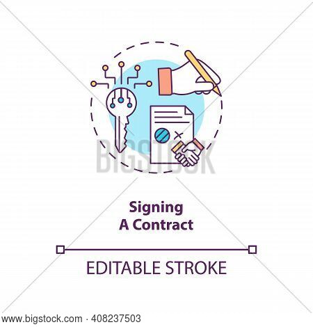 Signing A Contract Concept Icon. Contract Lifecycle Steps. Agreeing To Terms Between Two Different S