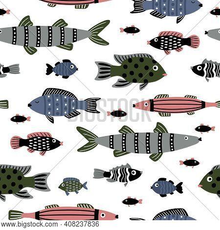 Marine Fishes Seamless Pattern. Cartoon Colorful Underwater Animals, Stylish Beautiful Characters Of