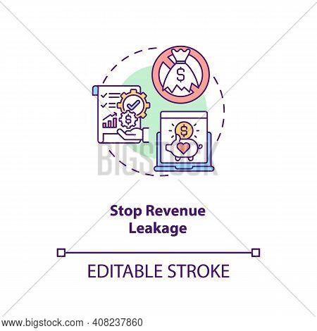Stop Revenue Leakage Concept Icon. Contract Management Automation Benefits. Contract Management Idea