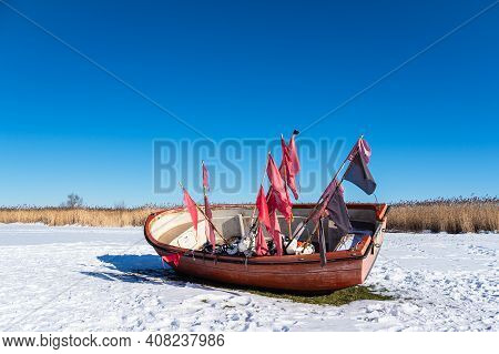 Fishing Boat On The Bodden Coast In Althagen, Germany.