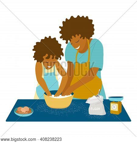 Concept Of Home Cooking With Child. Mother And Daughter Cooking On Kitchen. Eggs And Bag Of Flour On