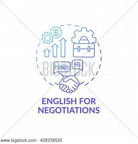 English For Negotiations Concept Icon. Business English Purpose Idea Thin Line Illustration. Strivin