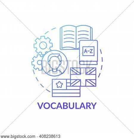 Vocabulary Concept Icon. Language Learning Category Idea Thin Line Illustration. Familiar Words Set