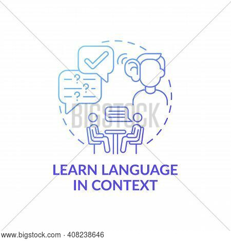 Learning Language In Context Concept Icon. Linguistic Context Idea Thin Line Illustration. Flashcard