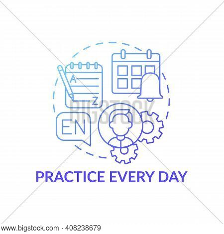 Practicing Every Day Concept Icon. Everyday Routine Idea Thin Line Illustration. Daily Practice. Imp