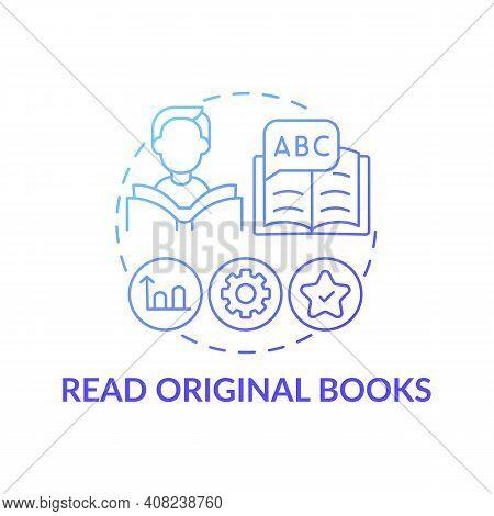 Reading Original Books Concept Icon. Learning Language Tip Idea Thin Line Illustration. Reading In F