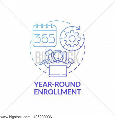 Year-round Enrollment Concept Icon. Online Language Courses Idea Thin Line Illustration. Starting Co