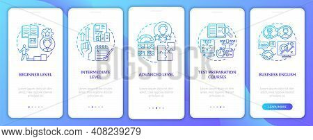 Language Study Levels Onboarding Mobile App Page Screen With Concepts. Test Prep Courses, Business E