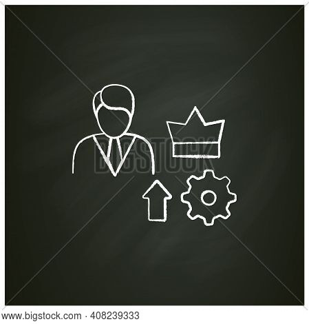 Self Esteem Building Chalk Icon. Personal Assessment. Personal Growth Concept. Self Improvement And