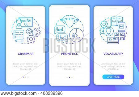 Language Study Categories Onboarding Mobile App Page Screen With Concepts. Word-stock, Linguistics W