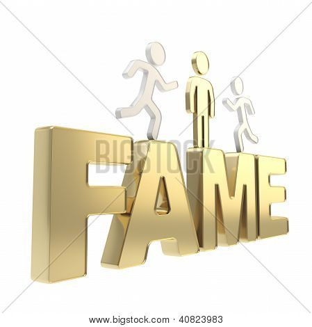 Human Running Symbolic Figures Over The Word Fame