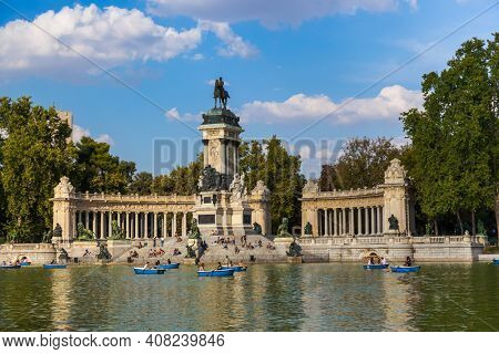 Madrid, Spain - September 23, 2011: Monument to Alfonso XII in Retiro Park at Madrid.
