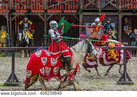 Detenice, Czech - October 22, 2017: Medieval Knight Tournament in castle Detenice.