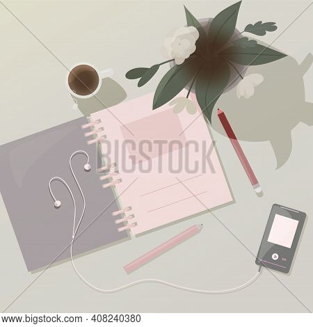 Vector  Top View Of Notepad And Flower