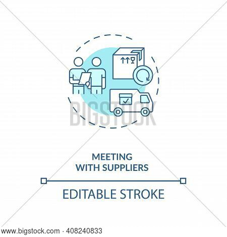 Meeting Wtith Suppliers Concept Icon. Business Trip Idea Thin Line Illustration. Traveling During Co