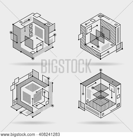 Cubic Isometric Abstract Lines Elements Technical 3d Background Design Vector Illustration