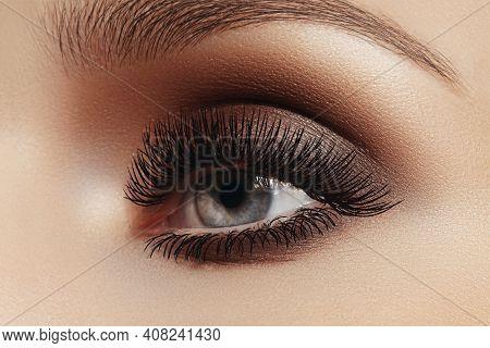 Beautiful Macro Female Eye With Extreme Long Eyelashes And Celebrate Makeup. Perfect Shape Make-up,
