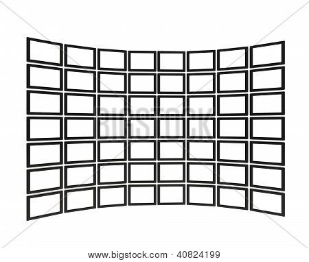 Large Tv Screen Block Made Of Tablet Devices Isolated