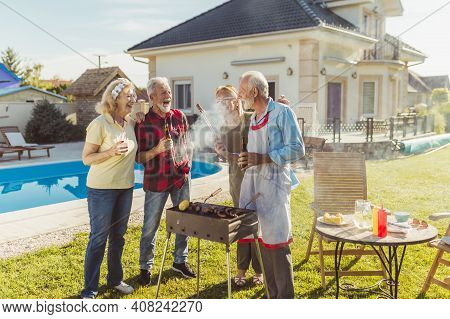 Group Of Cheerful Senior Friends Having Fun At Poolside Backyard Barbecue Party, Gathered Around The