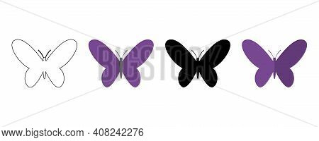 Black Butterfly Icon. Outline Butterfly Icon. Paper Butterfly. Colored Butterfly. Vector Illustratio