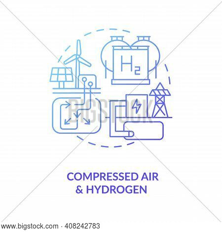 Compressed Air And Hydrogen Energy Storage System Concept Icon. Renewable Resources Of Wind And Sola