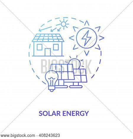 Photovoltaic Systems Generate Electricity Concept Icon. Energy From Sun In Radiation And Light Idea