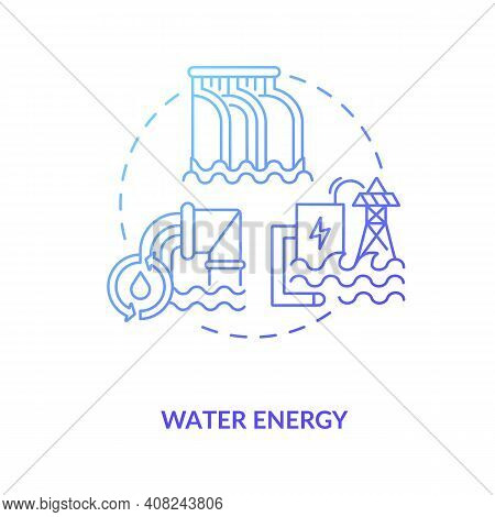 Hydropower Rely On Water Concept Icon. Flow Of Water Masses In Channel Streams And Tidal Movements I