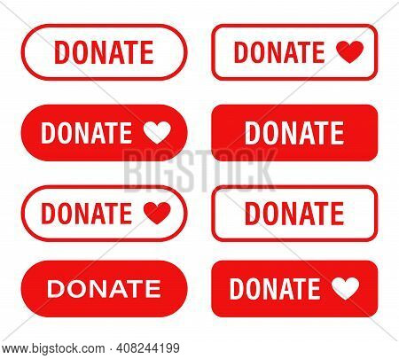 Donate Web Button. Set Red Buttons With Heart. Symbol Of Financial Aid Isolated On White Background.