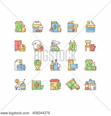 Waste Management Rgb Color Icons Set. Residential Waste Collection. Paper Shredding. Grass Clippings