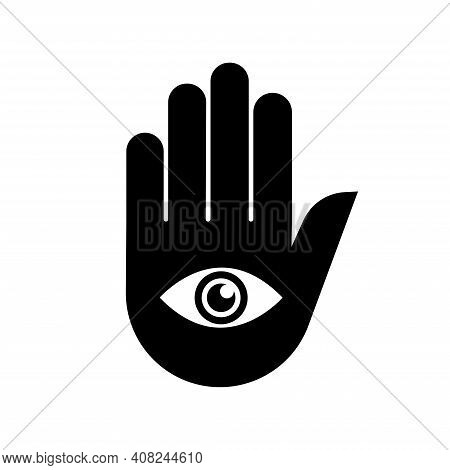 Hand With Eye Vector Icon On White Background. Mystic And Occult Symbol. Spirituality, Astrology Con