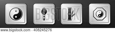 Set Yin Yang, Yin Yang, Bamboo And Yin Yang Icon. Silver Square Button. Vector