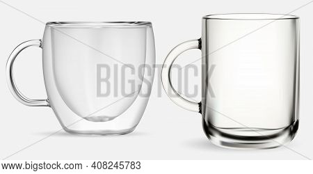 Glass Mug. Transparent Glass Tea Cup, Isolated Vector Illustration On White Background. Coffee Drink