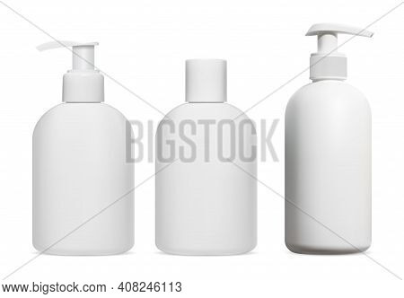 Shampoo Bottle. Cosmetic Lotion, Gel, Soap Dispenser Blank Mockup, Isolated. 3d Vector Design Of Pla