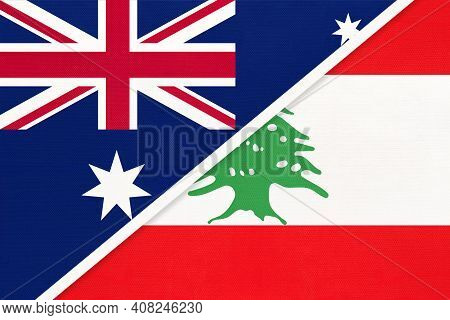 Australia And Lebanon Or Lebanese Republic, National Flags From Textile. Relationship, Partnership A