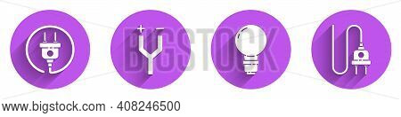 Set Electric Plug, Electric Cable, Light Bulb With Concept Of Idea And Electric Plug Icon With Long
