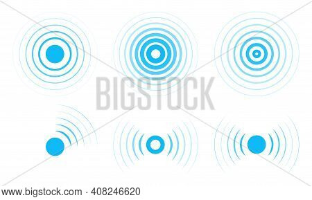 Radar Vector Icons. Signal Concentric Circles. Sonar Sound Waves Isolated On White Background. Fat S