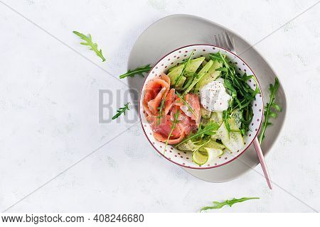 Ketogenic, Keto Diet. Salted Salmon, Avocado And Cucumber Salad With Cream Cheese In White Bowl. Hea