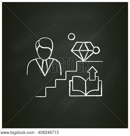 Personal Growth Chalk Icon. Route To Success. Self Improvement And Self Realization. Business And Ca