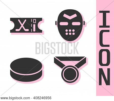 Set Medal, Hockey Sports Ticket, Hockey Puck And Hockey Mask Icon. Vector