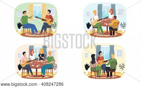 Set Of Illustrations About Friends Playing Board Games And Listening To Music Of Guitarist. People H