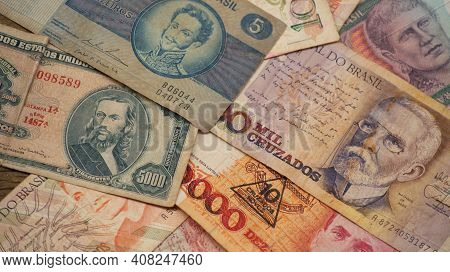 Brazilian Paper Currency Notes Produced At Various Times With Different Values And With Historical F