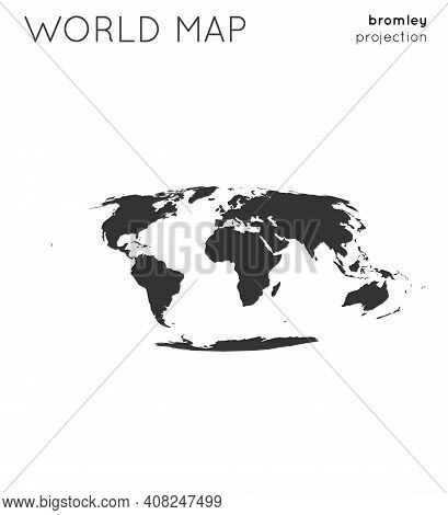 World Map. Globe In Bromley Projection, Plain Style. Modern Vector Illustration.