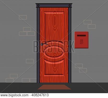 Front Red Door House, Office Or Store. External Entrance Door