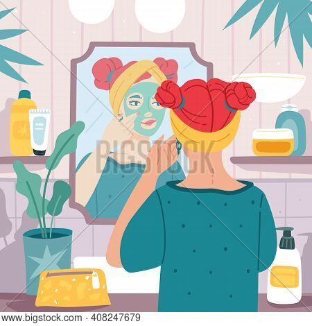 Mirror Reflection. Young Beautiful Woman Makes Face Mask In Bathroom Interior, Female Care Skin Rout