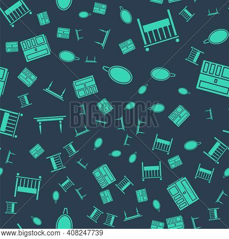 Set Mirror, Baby Crib Cradle Bed, Wooden Table And Wardrobe On Seamless Pattern. Vector